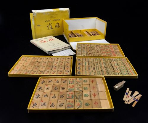 Vintage Bamboo Mahjong / Mah Jong Set / Game In Box By H P Gibson & Sons LTD